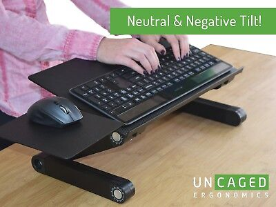 WorkEZ Keyboard Tray adjustable height angle tilt sit stand up computer riser  - Stand Adjustable Keyboard Tray