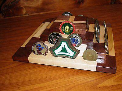 REDUCED $ Handmade Rotating Military Challenge Coin Display Case Pyramid Veteran