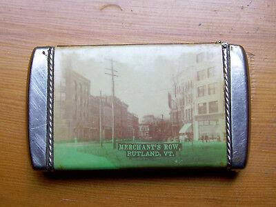 ANTIQUE SOUVENIR MATCH SAFE VESTA, Rutland, VT. 1898-1907 Great Condition