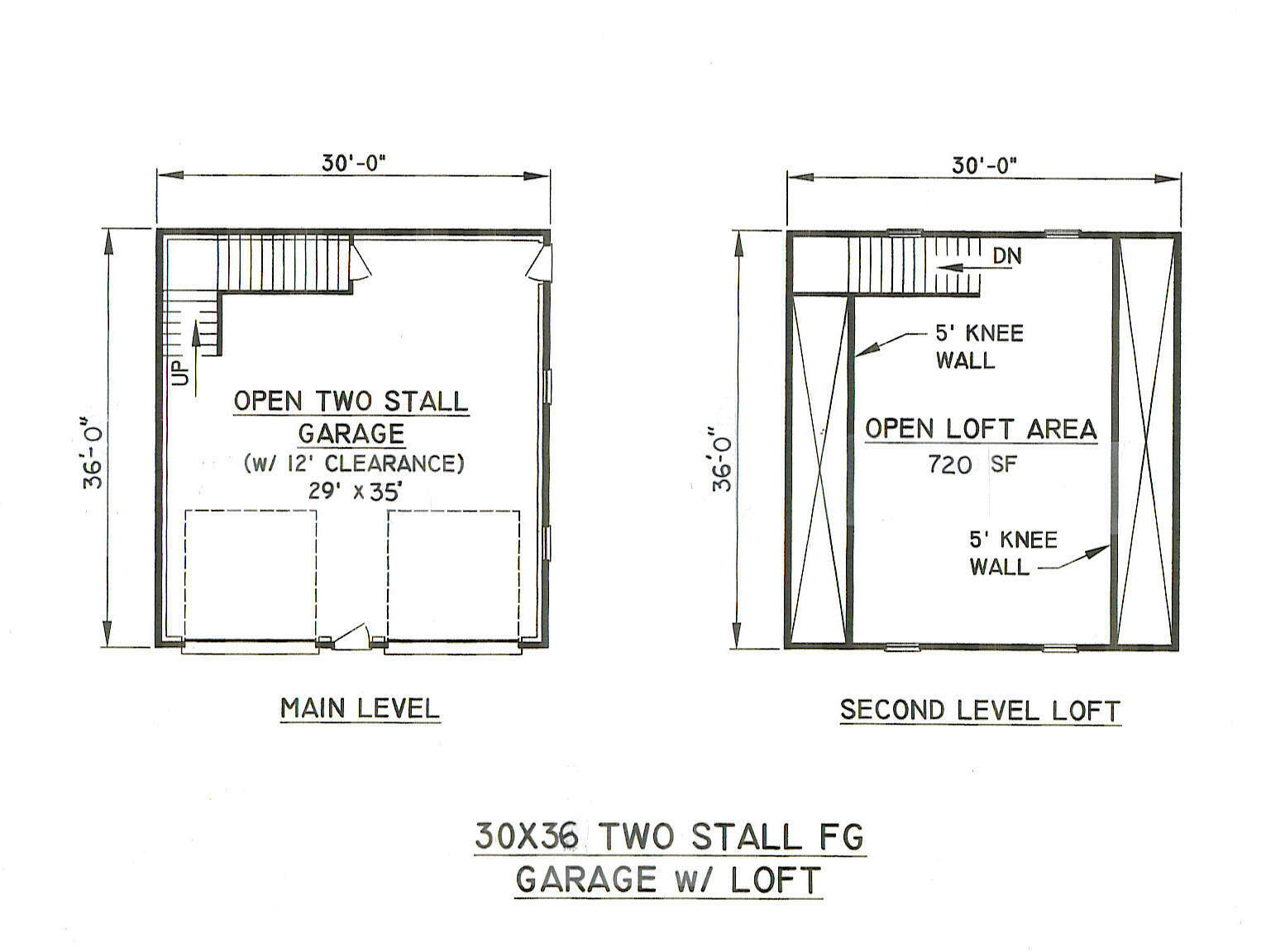 30x36 2 stall fg garage building blueprint plans w loft for 2 stall garage plans