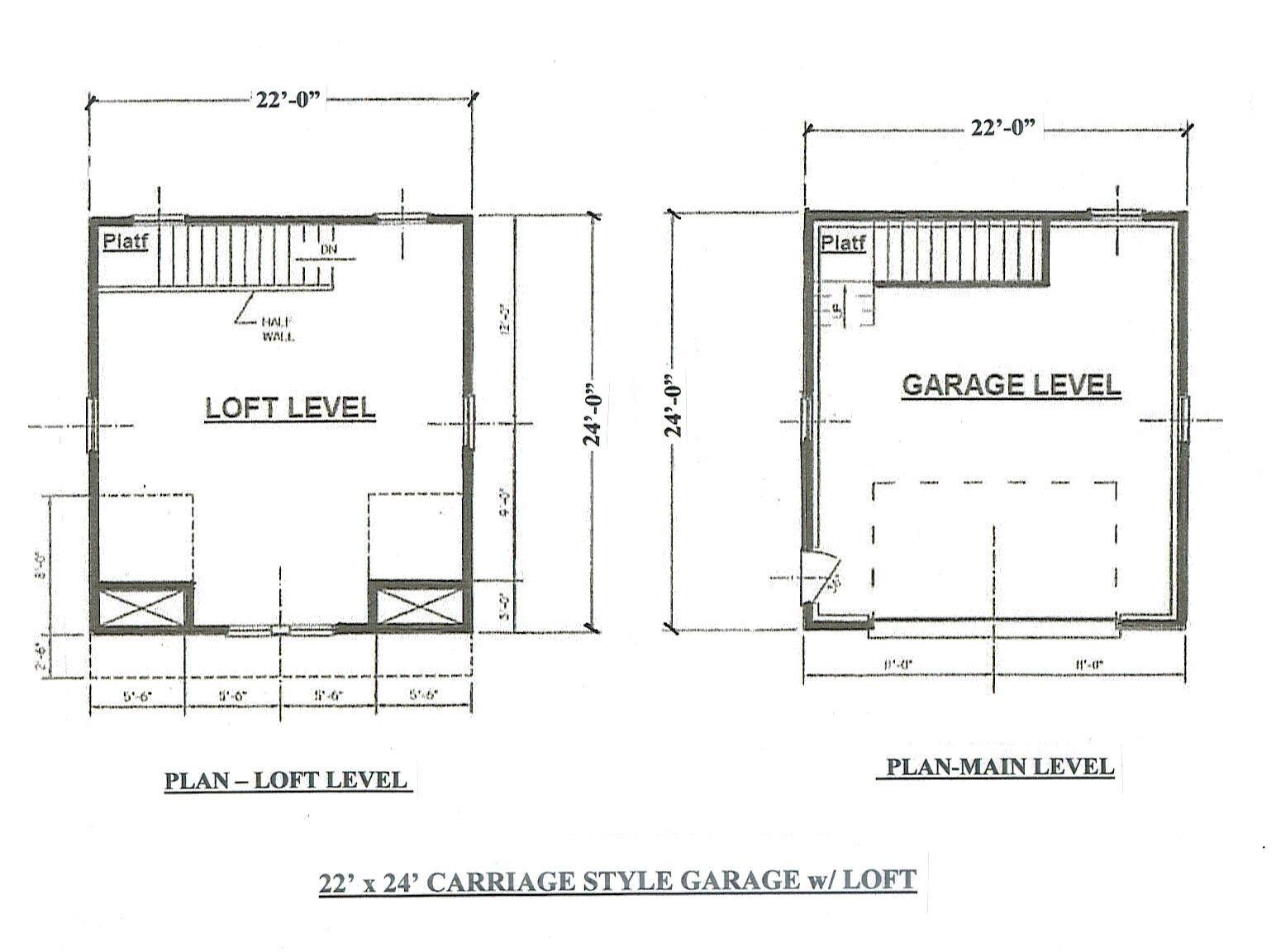 22x24 2 car carriage garage building blueprint plans for Garage construction plans free