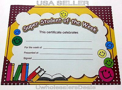 Student of the Week Award Certificates 15 Paper 8.5