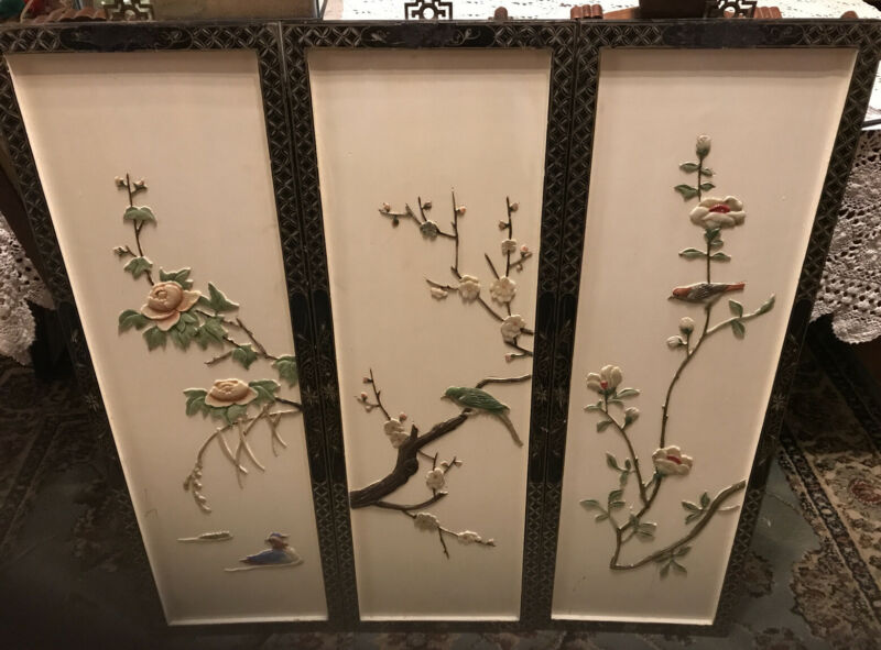 """Vintage Asian Carved Wood Wall Art Panels Set Of 3 Birds Flowers 36""""x12"""""""