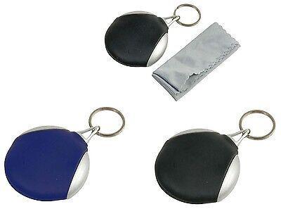 Portachiavi (Diam. 6 cm) con panno (5,5x7 cm) per la pulizia degli occhiali