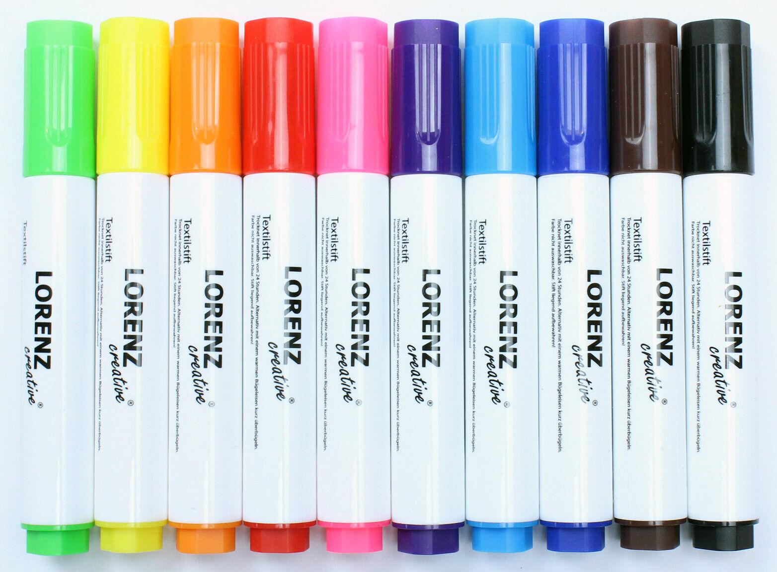 10 Textilstifte Stoffmalstifte wasserfest handlich feste Spitze DIY