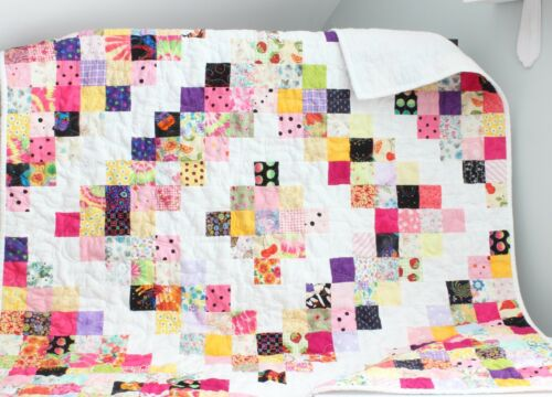 PRETTY SCRAPPY SQUARES ~  New Handmade Baby Girl Quilt