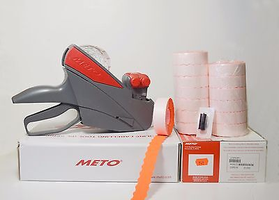 Meto Price Label Gun 1322 2 Line 58dgt Red Labels 14rolls Ink Roller