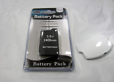 Psp Slim Replacement Battery - PSP 2000 (SLIM) Replacement Battery Pack 3.6v 2400mAh + White Battery Cover Set