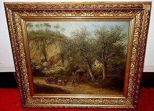 Ölbild,Landschaft mit Pferdefuhrwerk und Bauern,Marterl,1884,Emilie Schieß
