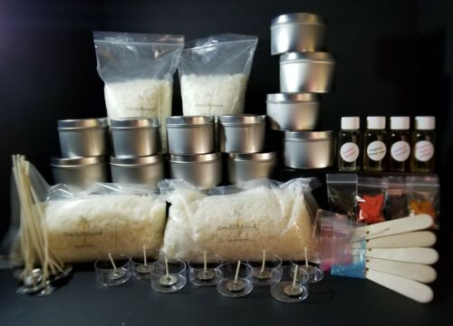 """Creative DIY """"Deluxe"""" Soy Wax Candle Making Kit - wax*wicks*color*fragrance*tins"""