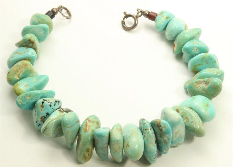 "Southwestern Sterling Silver Blue Green Turquoise Gemstone Bead Bracelet 7"""