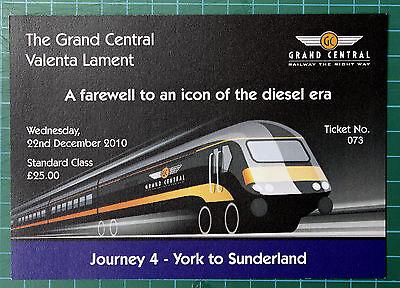 Grand Central HST Valenta Lament ticket 2010 STANDARD, trip 4 York to Sunderland