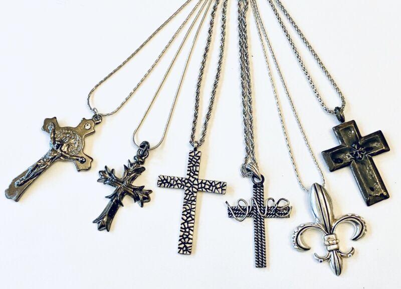 Wholesale Lot 6 Assorted Cross Pendant Fashion Necklaces