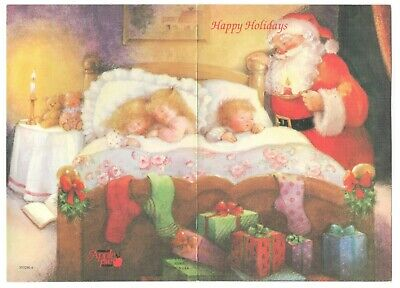 SANTA & SLEEPING CHILDREN Vintage Apple Pie Christmas Greeting Card Art BT2 ()