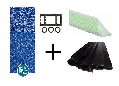 Above Ground Cracked Glass Swimming Pool Overlap Liner w/ Cove & Coping Strips