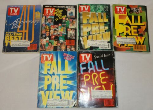 TV Guide Lot of 6 Issues 1991-95 FALL PREVIEW, 40th Anniversary Issue 2000th