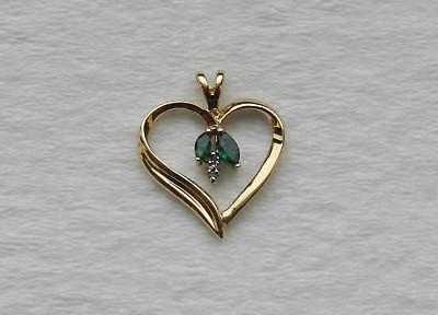 10k Yellow Gold Heart Pendant  *Diamond Accents*   *2.2 Grams*
