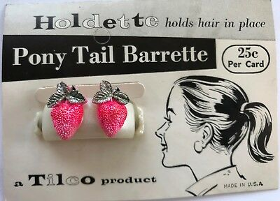 Vintage Hair Barrettes - 1950's Pony Tail Holder with Hand Painted Strawberries](1950's Hair)
