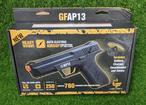 Game Face Airsoft Pistol, 6mm, 250 FPS, Full/Semi Auto, Black - GFAP13