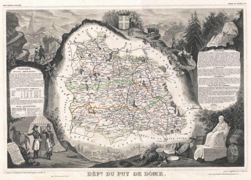 1852 Levasseur Map of the Department Du Puy de Dome, France