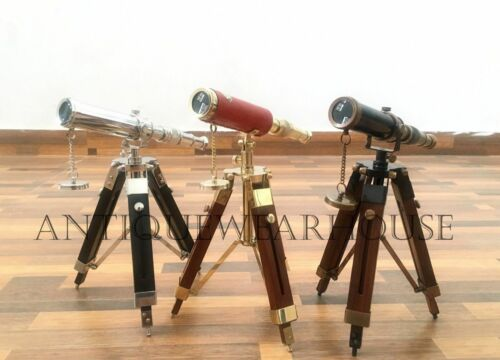 SET OF 3 Handmade Solid Brass Pirate Spyglass Telescope With Wooden Tripod Decor