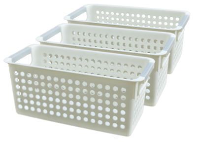 New Basicwise White Rectangular Plastic Shelf Organizer Basket with Handles (Plastic Baskets With Handles)