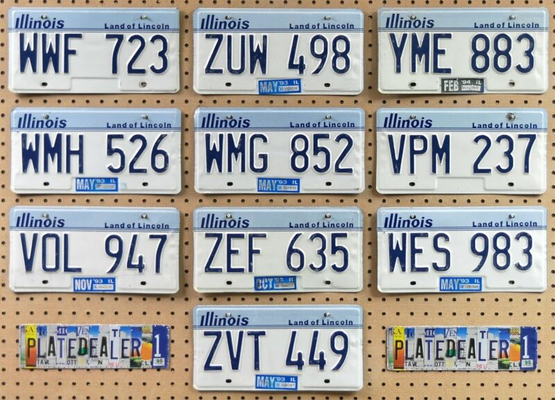 10 ILLINOIS Lincoln Blue/White License Plates Tags Man Cave Gifts Art LOT 723