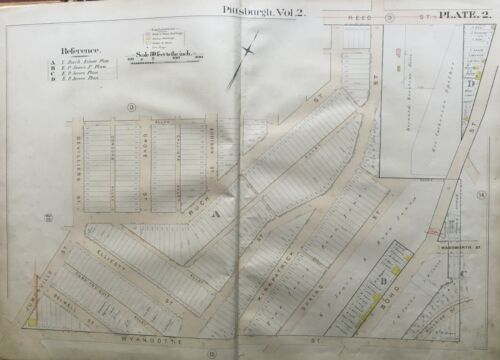ORIGINAL 1889 MIDDLE HILL PITTSBURGH PA WYANDOTTE ST TO REED ST ATLAS MAP