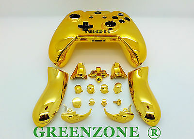 Gold Chrome Xbox One Replacement Custom Controller Shell with Buttons Mod Kit