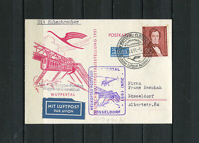 Berlin Nr. 74 auf Beleg  Helikopter Flug 10.6.51- Wuppertal   ( 27148 )