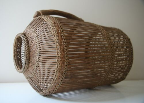 Antique Asian Bamboo Basket Hand Woven Carved Wood Handle Open Weave Chinese