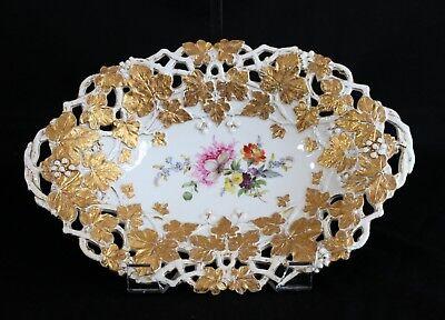 "Antique Meissen Reticulated Gold Gilt Leaves Berries Flower Centerpiece Bowl 12"""