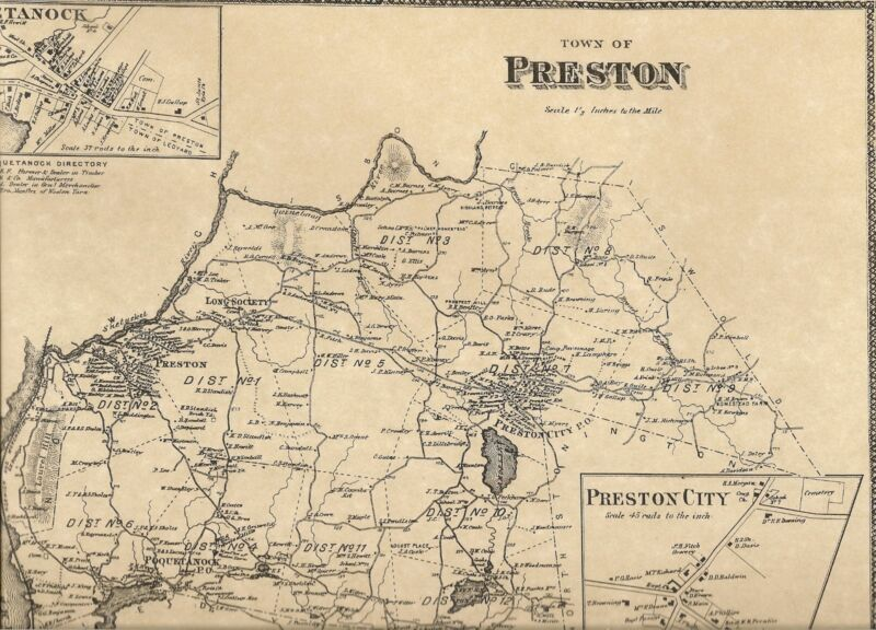 Preston Poquetanuck Shewville  CT 1868 Maps with Homeowners Names Shown
