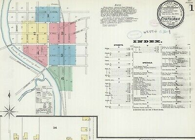Cynthiana, Kentucky~Sanborn Map© sheets ~ 62 maps in full color~1886 to 1916