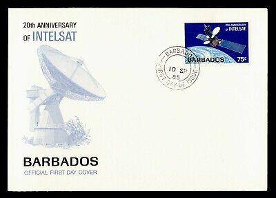 DR WHO 1985 BARBADOS FDC SPACE 20TH ANNIV INTELSAT SATELLITE  C243756