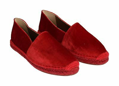 DOLCE & GABBANA Shoes Espadrilles Red Velvet Flats Size EU39 US8.5 NEW $500