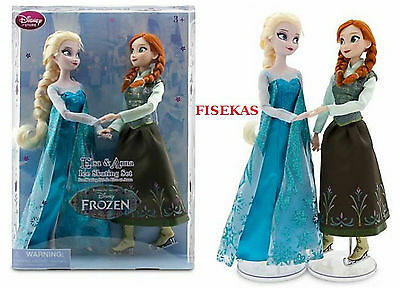 Disney Store Official 2 pc Ice Skating Anna and Elsa Dolls 12
