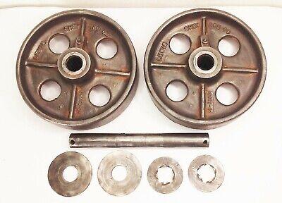 Vtg Antique Cast Iron 8 Caster Wheels Industrial Factory Farm Cart Dolly