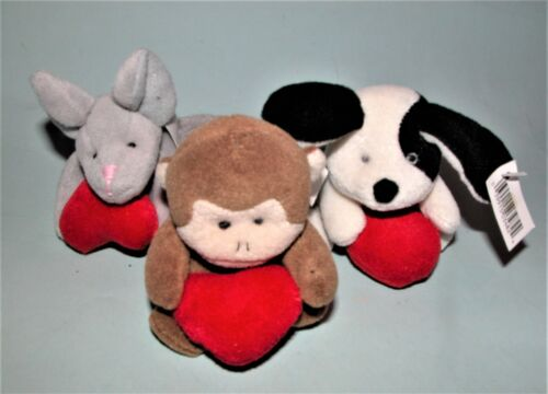 Russ Berrie plush 3pc. set New Valentine mouse, dog and monkey holding hearts