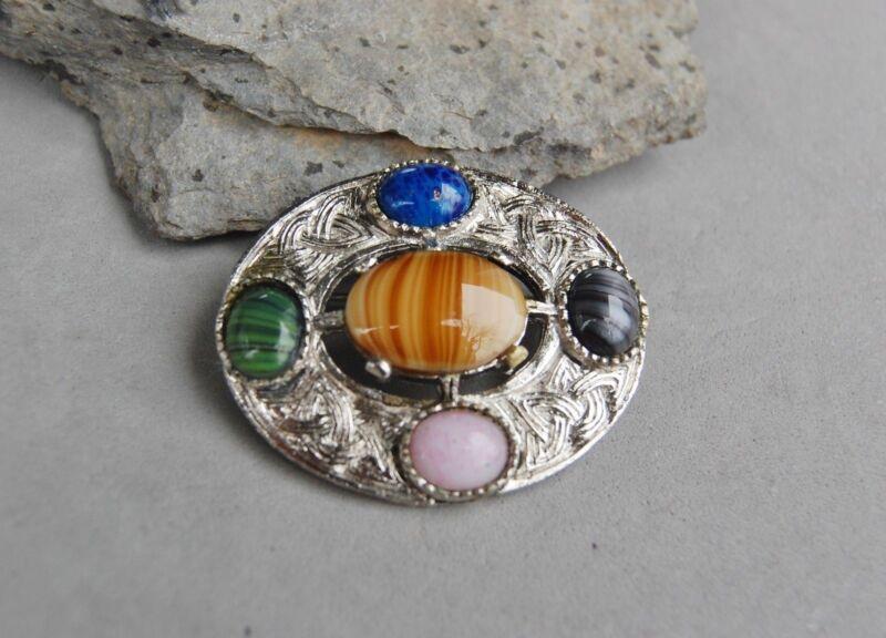 "Celtic Scottish Shawl Cloak Pin Brooch Glass Gemstone Agates Silver Tone 1 3/4"""