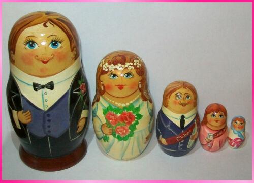 "* HAND PAINTED RUSSIAN MATRYOSHKA NESTING DOLLS ""WEDDING"" SET. 5pc  6"""