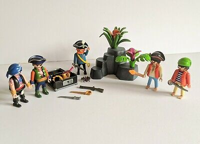 Playmobil Pirates Figures & Treasure Chest with Small Island
