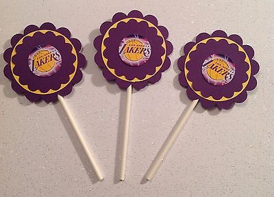 Nba Los Angeles Lakers Cupcake Toppers Birthday Anniv Party Supplies Handmade  (Lakers Party Supplies)