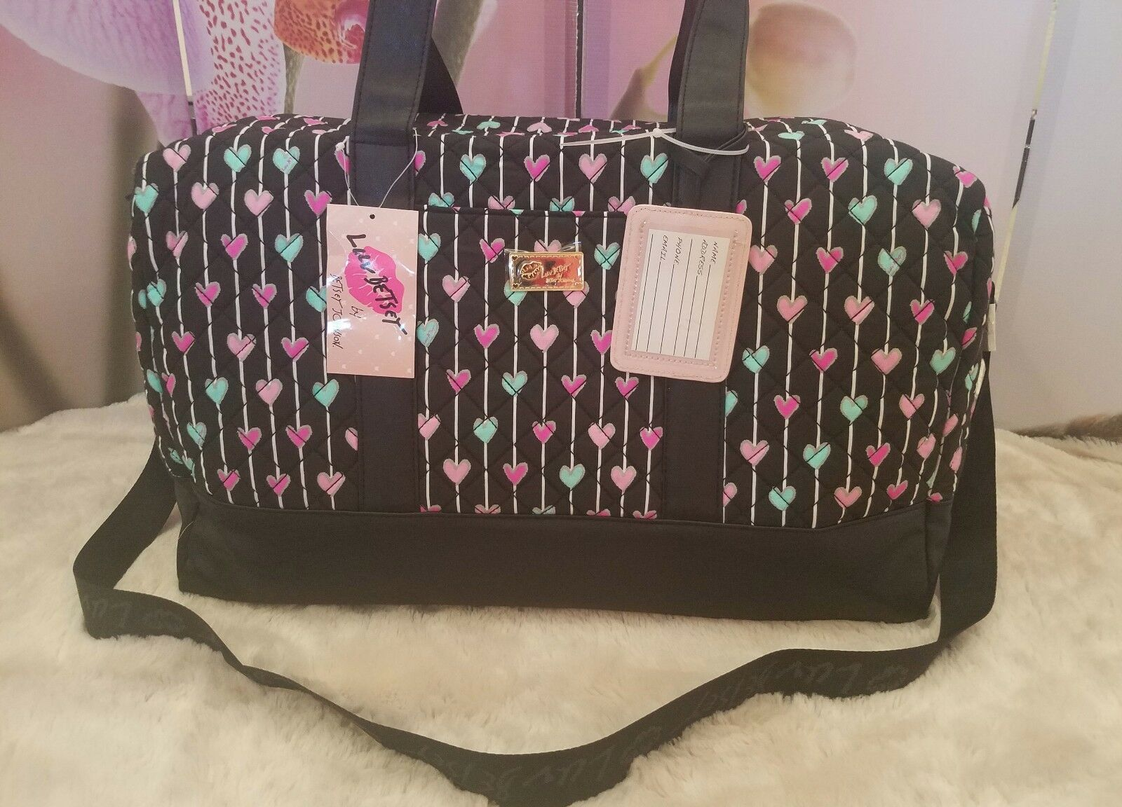 Betsey Johnson Hearts Travel/Weekender Bag Large Black Quilt