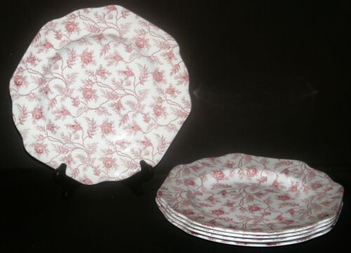 5 Spode England Rosebud Chintz Red Square Luncheon Plates