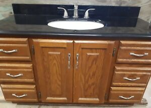 "48"" granite vanity top with sink and faucet"