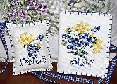 completed Needlecase and Pincushion handmade cross stitch,primroses flowers