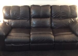 Reclining Leather Sofa and Love Seat with console