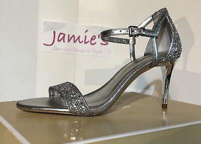 MICHAEL KORS Simone Mid Sandal GLITTER FABRIC Silver HEEL 4OT8SMMASD sz 6-10 Heel Glitter Sandal