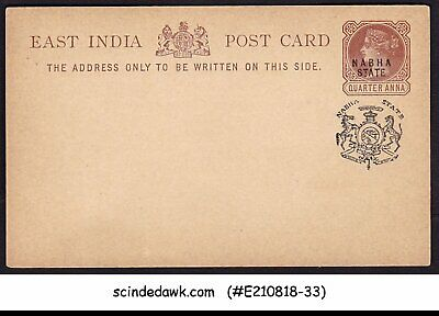 Used, NABHA STATE - 1/4 ANNA QV POSTCARD - BLACK OVPT - MINT for sale  Shipping to India